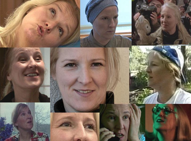 Collage mehrerer Szenenfotos aus Filmen mit Belinde Ruth Stieve